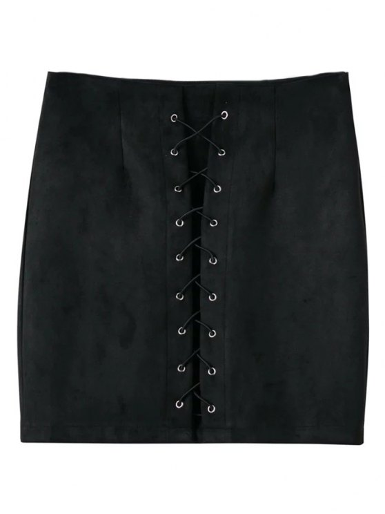 Lace-Up Bodycon Skirt - BLACK L Mobile