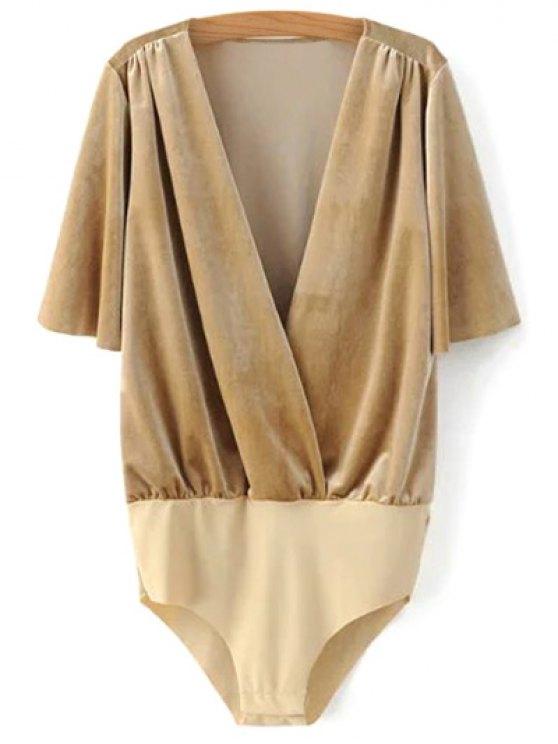 Velour Wrap Bodysuit - KHAKI M Mobile