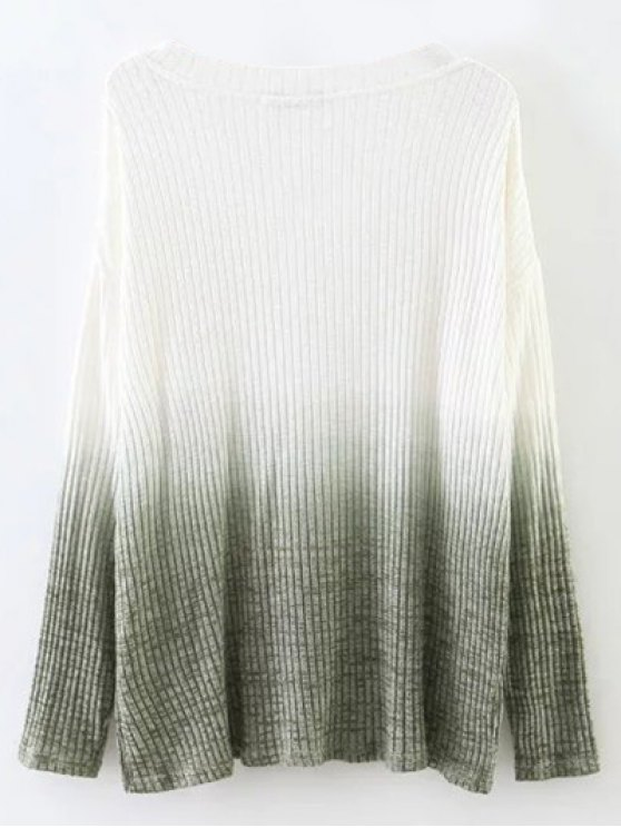 Ombre High-Low Knitwear - WHITE M Mobile