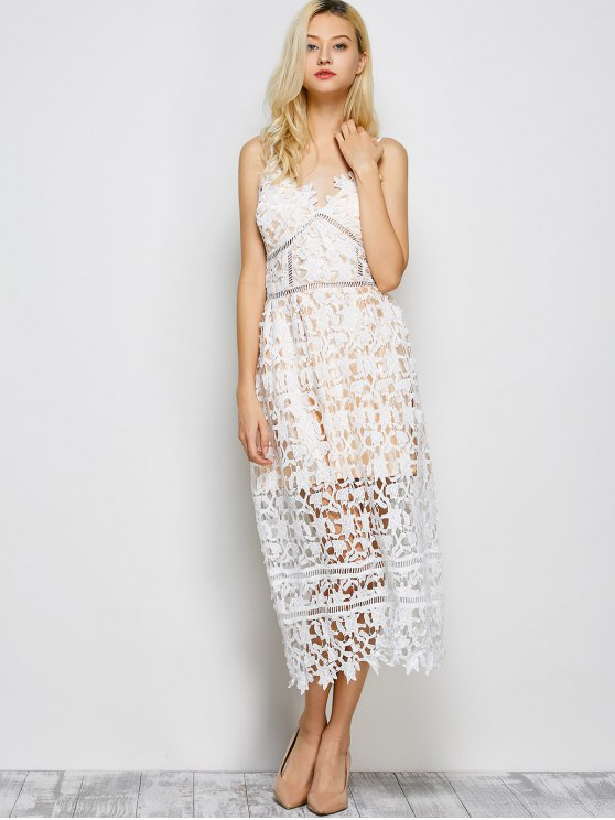 Lace Hollow Out Slip Dress - WHITE L Mobile