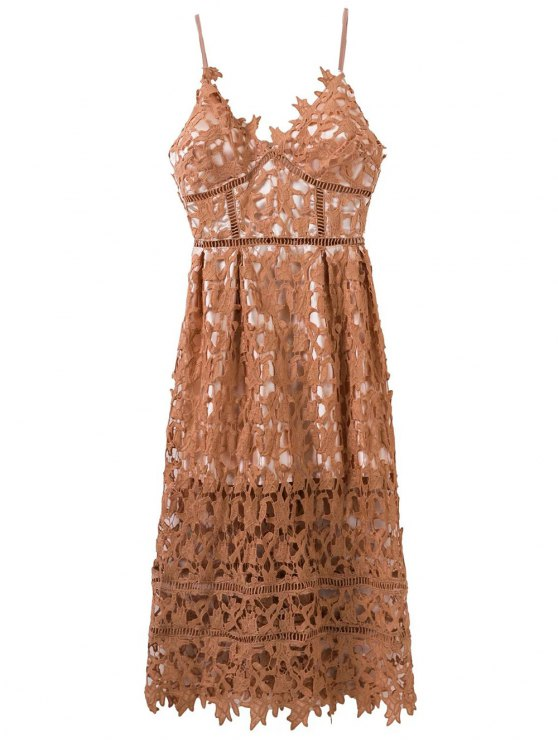 Lace Hollow Out Slip Dress - LIGHT COFFEE M Mobile