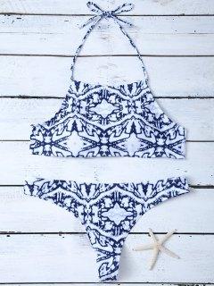 Halter Criss Cross Print Bikini Set - Xl