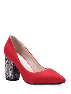 Glitter Sequined Pointed Toe Pumps - Red 39