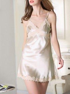 Lace Trim Satin Slip Sleep Dress - Champagne 2xl
