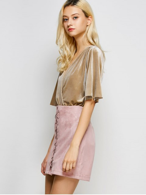 new Lace-Up Bodycon Skirt - PINK M Mobile