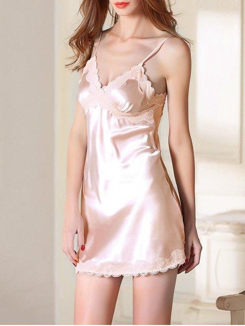 women's Lace Trim Satin Slip Sleep Dress - LIGHT PINK 2XL Mobile