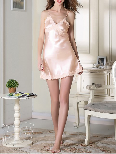 lady Lace Trim Satin Slip Sleep Dress - LIGHT PINK L Mobile