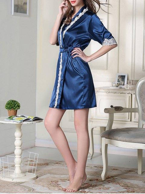lady Belted Satin Sleep Kimono Robe - ROYAL BLUE L Mobile