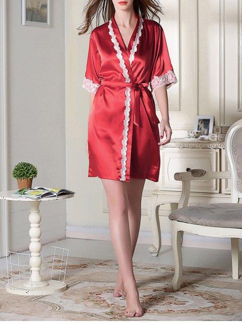 new Belted Satin Sleep Kimono Robe - RED XL Mobile
