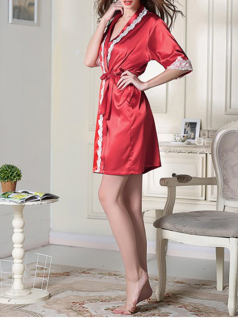 hot Belted Satin Sleep Kimono Robe - RED L Mobile