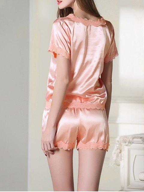 hot Satin Scoop Tee Boxer Pajama - PINK L Mobile