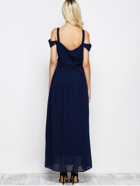 women Cold Shoulder Slit Maxi Prom Dress - PURPLISH BLUE M Mobile