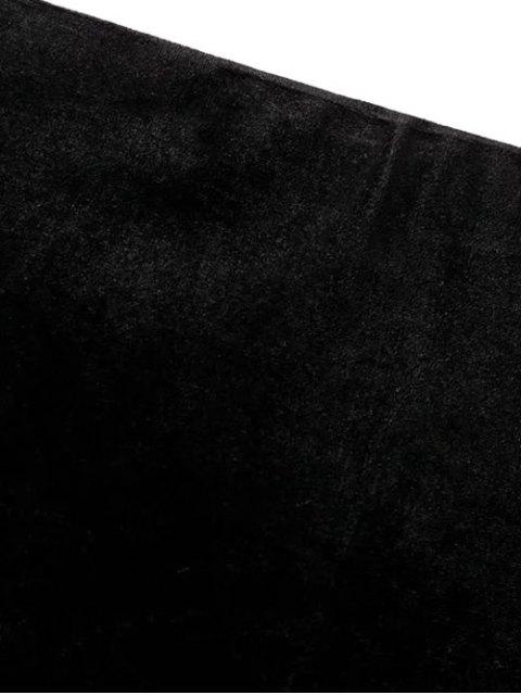 unique Flounced Velvet Mini Skirt - BLACK S Mobile