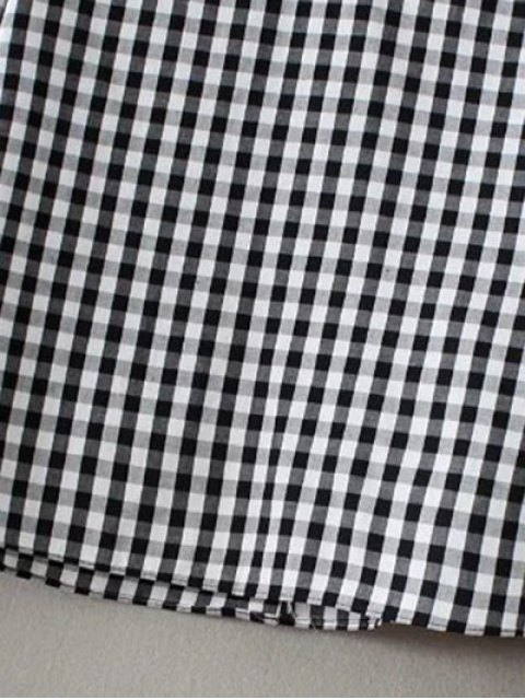 lady Buttoned Checked Blouse - BLACK L Mobile