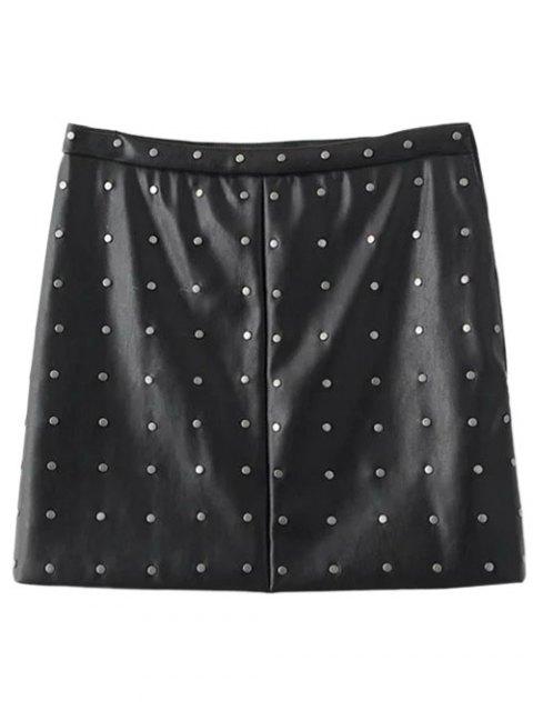 sale PU Leather Rivet A-Line Skirt - BLACK L Mobile