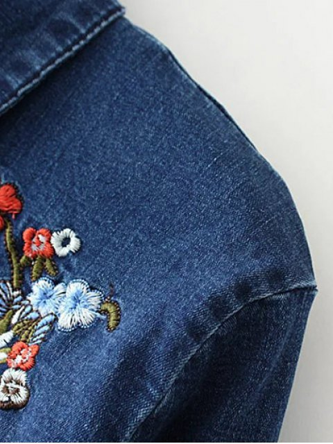 new Stretchy Floral Embroidered Jean Shirt - BLUE L Mobile