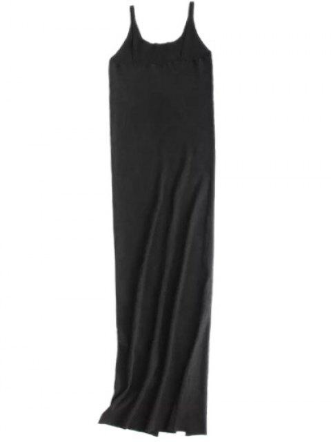 buy Cami Slit Sweater Dress - BLACK M Mobile