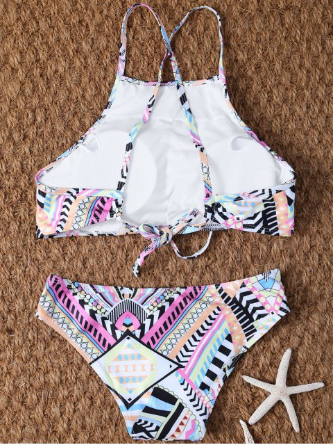 women's High Neck Criss Cross Geometric Bikini Set - PINK M Mobile