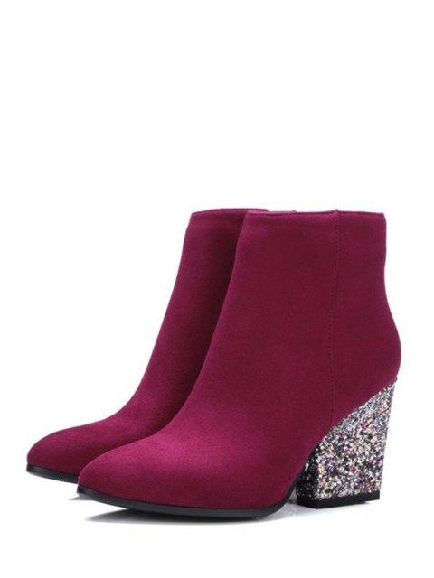 fashion Zipper Glitter Chunky Heel Ankle Boots - BURGUNDY 39 Mobile