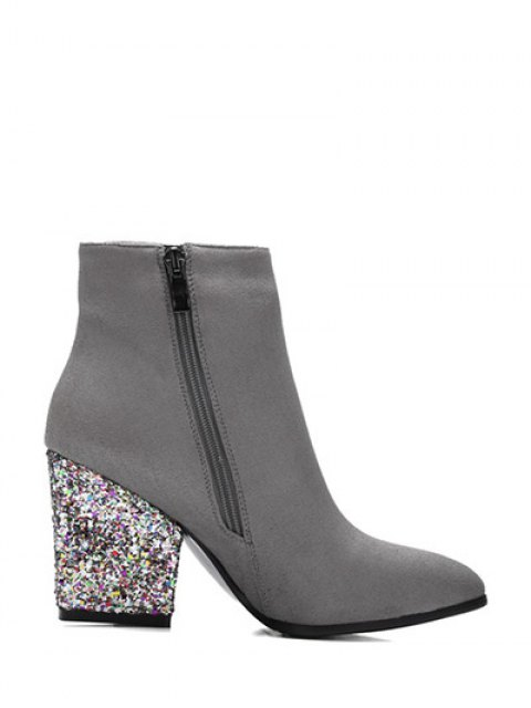 affordable Zipper Glitter Chunky Heel Ankle Boots - GRAY 38 Mobile