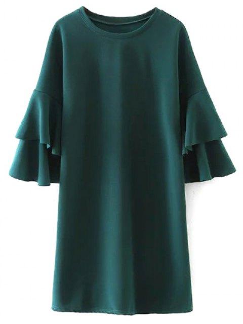 affordable Frilled Sleeve Mini Dress - GREEN L Mobile