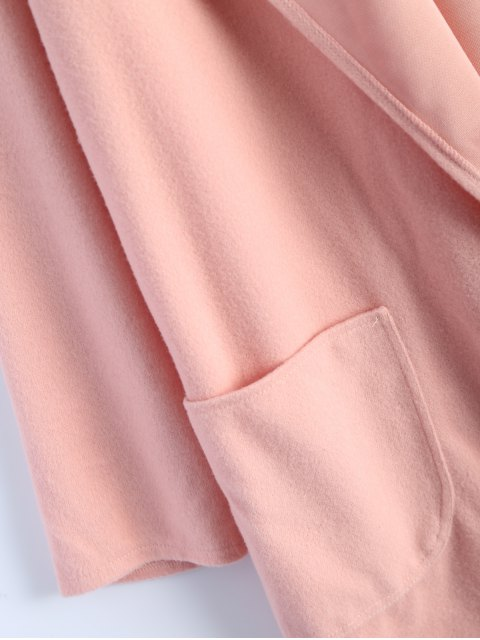 unique Cotton Open Front Coat - PINK L Mobile