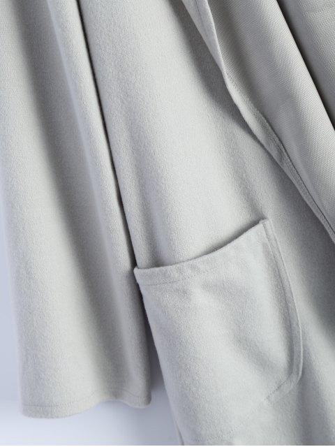 womens Cotton Open Front Coat - LIGHT GRAY L Mobile