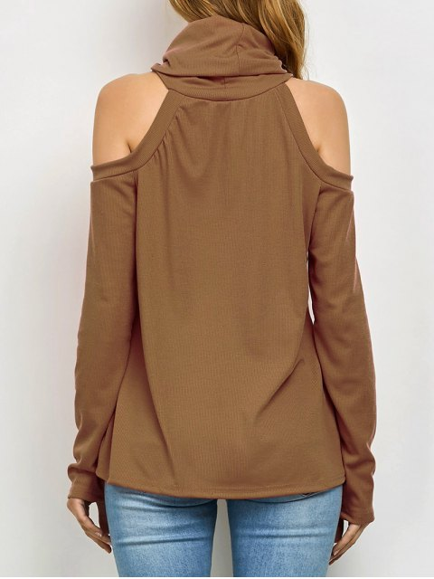 latest Cold Shoulder Turtle Neck Knitwear - KHAKI L Mobile
