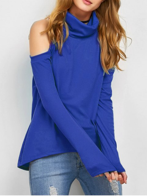 affordable Cold Shoulder Turtle Neck Knitwear - BLUE XL Mobile