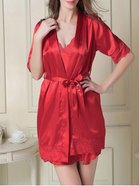women's Silky Slip Dress and Robe - RED 2XL Mobile