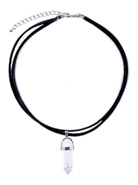 women PU Leather Rope Faux Gem Pendant Necklace - WHITE AND BLACK  Mobile