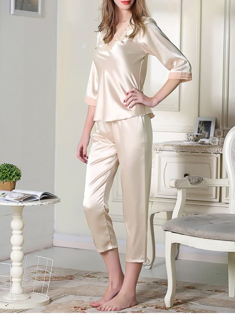 outfit Satin Tee and Capri Pants Pajama - CHAMPAGNE XL Mobile
