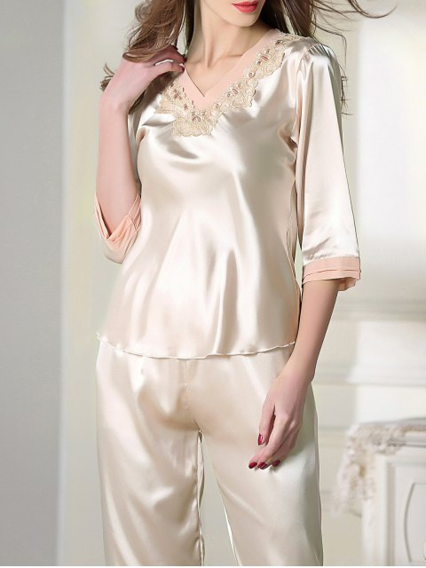 hot Satin Tee and Capri Pants Pajama - CHAMPAGNE 2XL Mobile