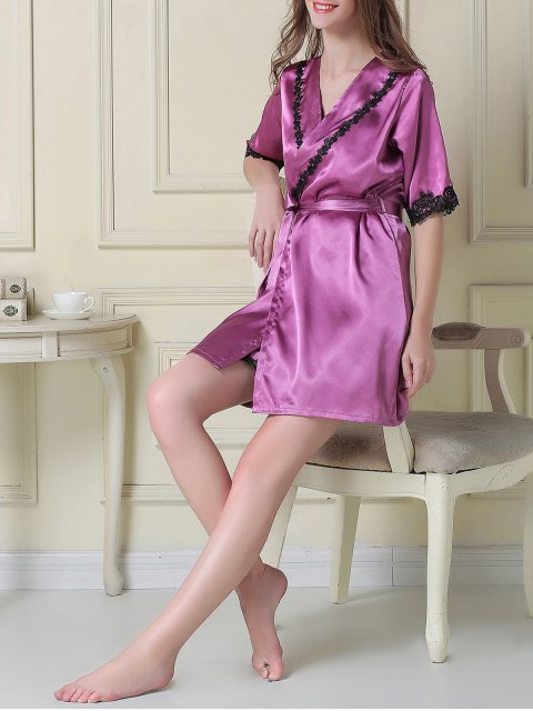 womens Satin Slip Dress and Belted Sleep Robe - PURPLE L Mobile