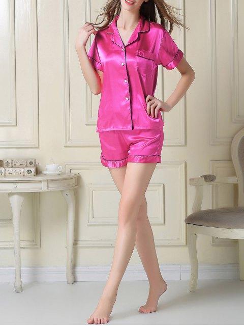 shops Short Sleeve Satin Boxer Pajama - ROSE RED 2XL Mobile