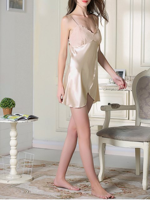 ladies Lace Satin Slip Sleep Dress - CHAMPAGNE M Mobile