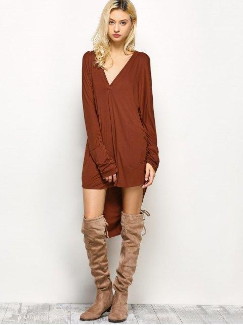 fancy Loose High-Low Dress - BROWN L Mobile