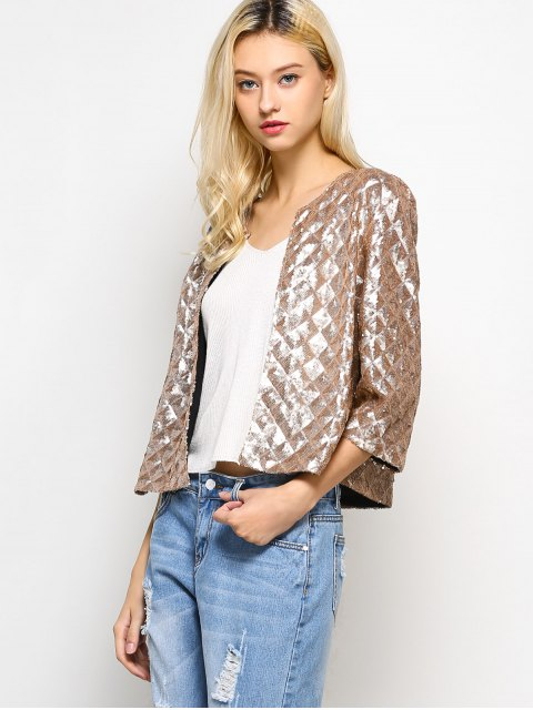 outfit Sequined Open Front Jacket - GOLDEN L Mobile