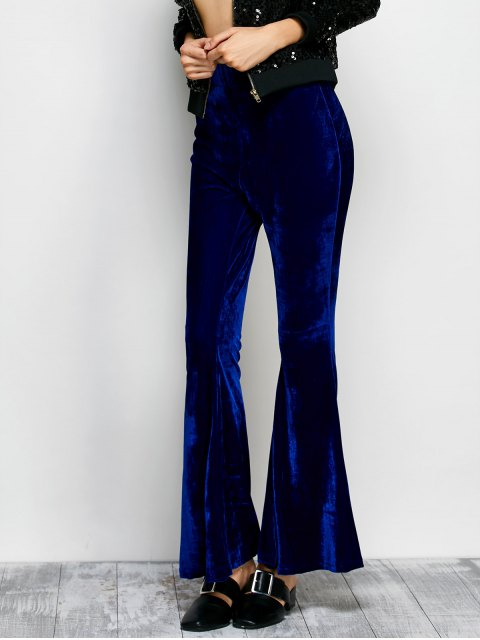 shops Velvet Flare Pants - BLUE S Mobile