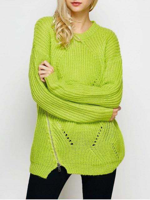 fancy Open Stitch Sweater - LEMON GREEN S Mobile