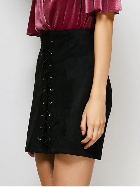 lady Lace-Up Bodycon Skirt - BLACK M Mobile