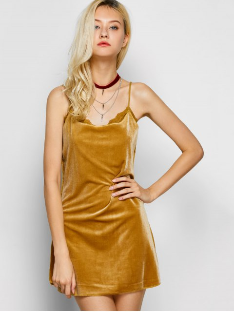 latest Velour Lace Panel Mini Dress - YELLOW L Mobile