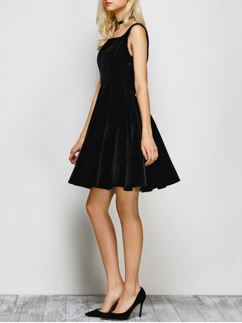 online Square Neck Velvet Vintage Dress - BLACK S Mobile