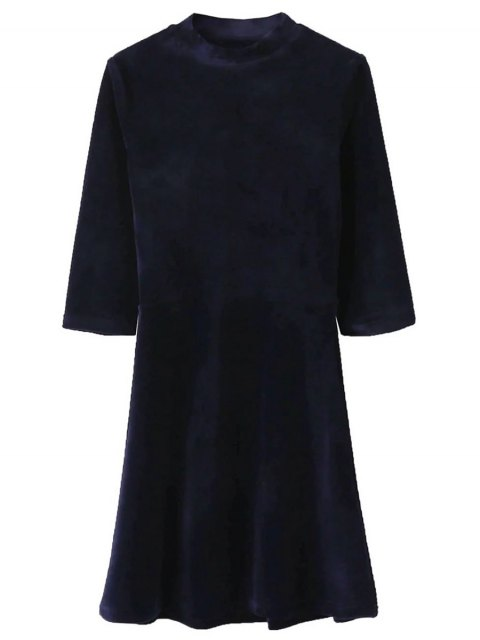 online Velour Stand Neck Fit and Flare Dress - PURPLISH BLUE S Mobile