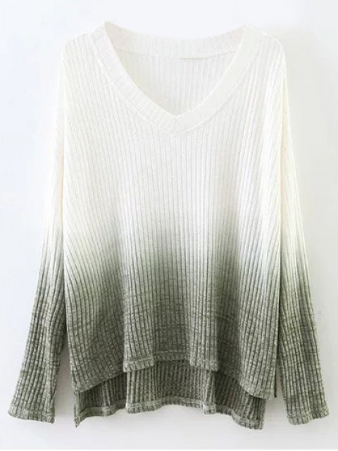 unique Ombre High-Low Knitwear - WHITE S Mobile