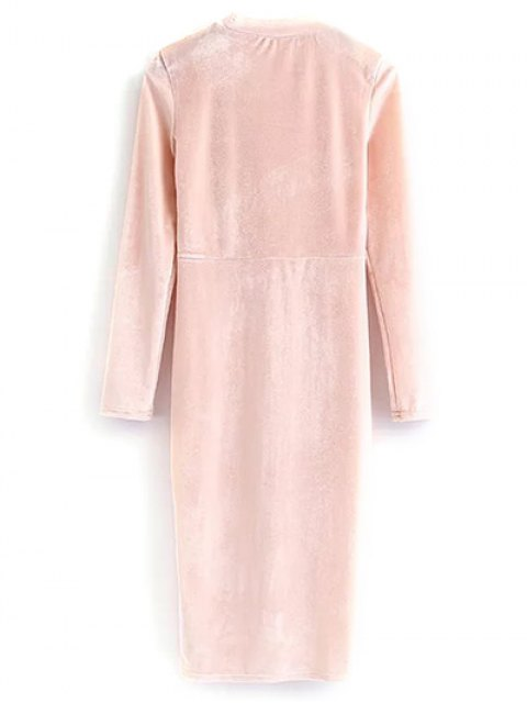 shop Vintage Velvet Slit Dress - PINK S Mobile