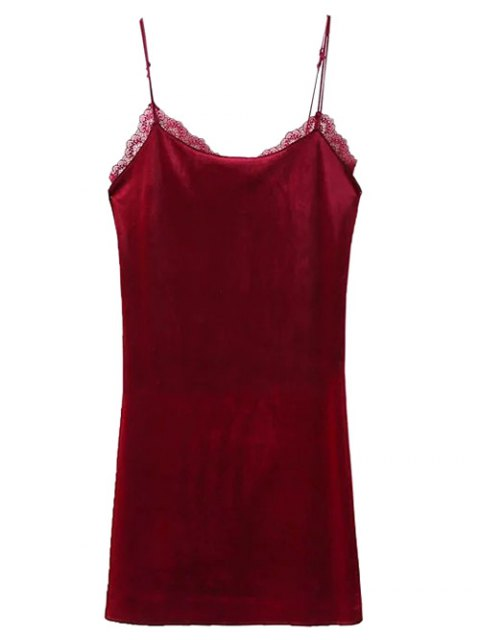 fancy Velour Lace Panel Mini Dress - WINE RED M Mobile