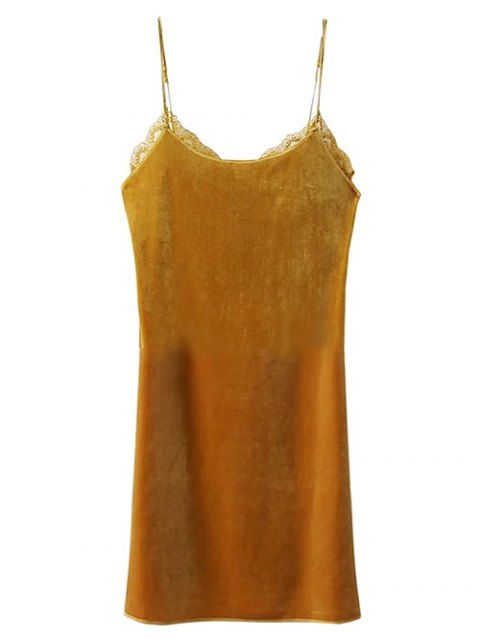 fashion Velour Lace Panel Mini Dress - YELLOW S Mobile