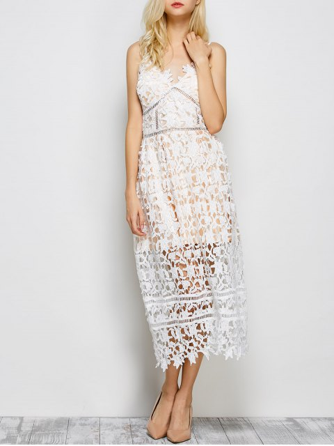 latest Lace Hollow Out Slip Dress - WHITE S Mobile