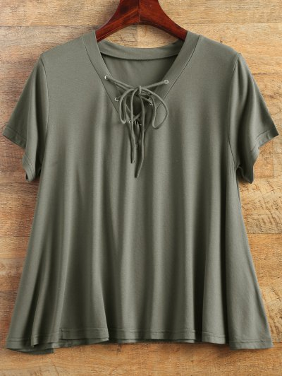 Flowy Lace Up Swing Tee - ARMY GREEN L Mobile